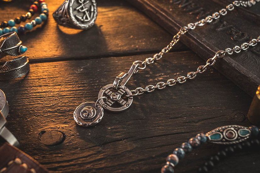 Stainless Steel Men's Necklace with antiqued Eagle & Cross Pendant