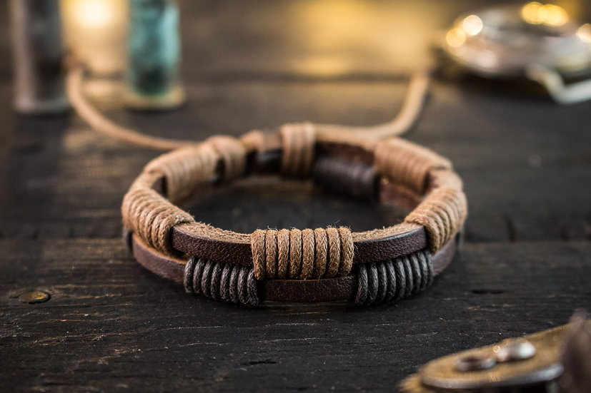 Genuine leather and brown waxed cord mens bracelet