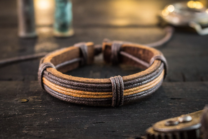 Genuine leather and brown waxed cord bracelet for men