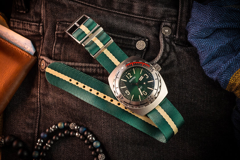 Green and Beige Tudor style Single Pass Seatbelt NATO Watch Strap