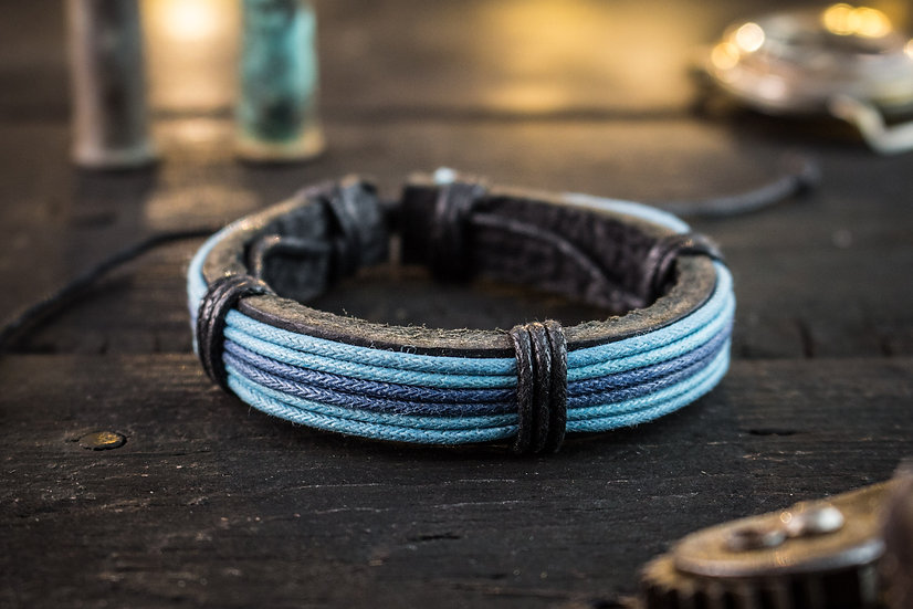 Genuine leather and blue waxed cord bracelet for men