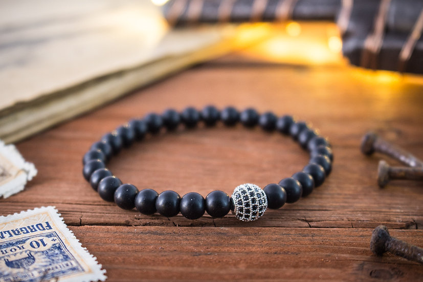 Matte onyx beaded stretchy bracelet with silver micro pave bead