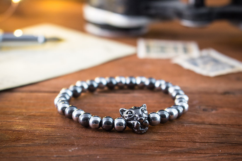 Silver & grey hematite beaded stretchy bracelet with gunmetal Leopard