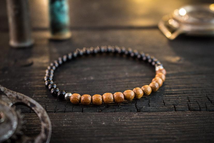 Onyx & sandalwood beaded mens bracelet
