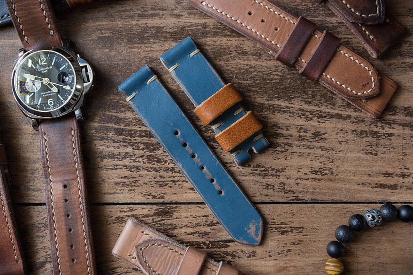 Handmade 23mm antiqued navy blue oiled leather strap with cognac loops