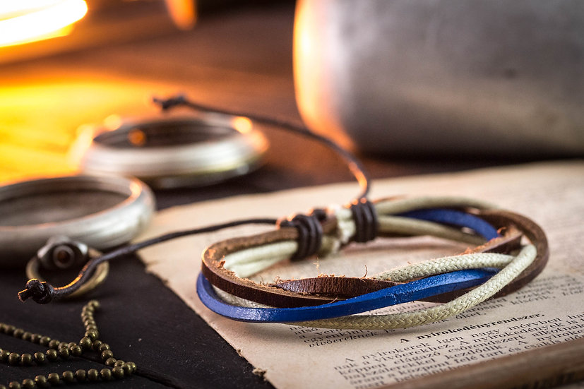 Brown & blue genuine leather and beige waxed cord bracelet