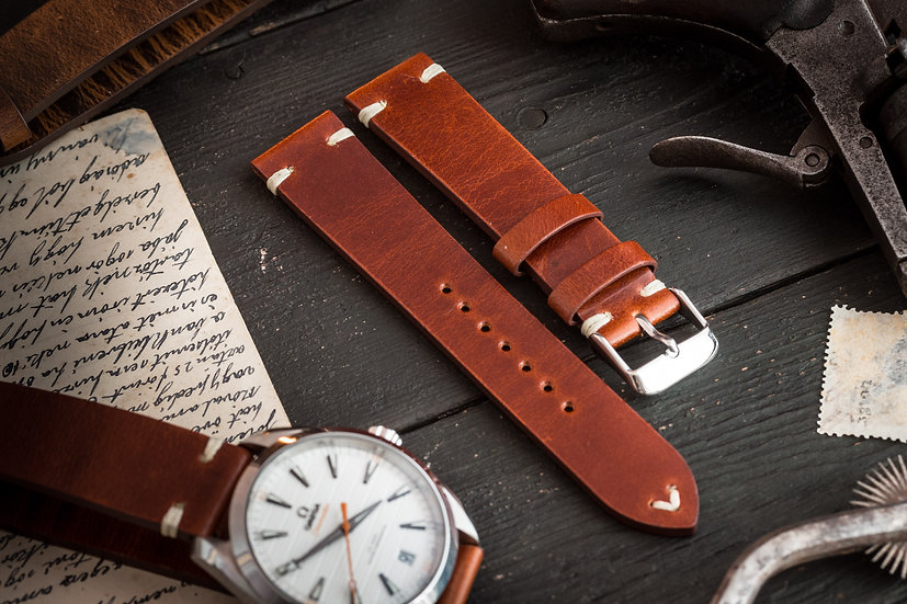 20mm Vintage style reddish brown leather strap with two stitches v2