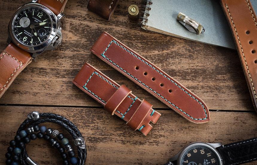 Handmade 22mm reddish brown leather strap 125/85mm