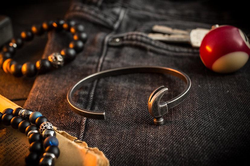 Antiqued Hammer stainless steel bangle, men's cuff bracelet
