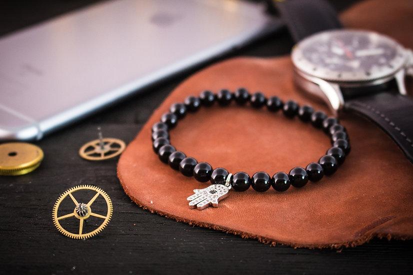 Black onyx beaded stretchy bracelet with silver Hamsa charm