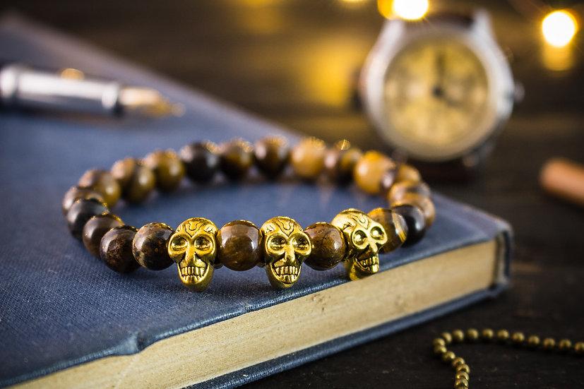 Tiger eye beaded stretchy bracelet with gold skulls