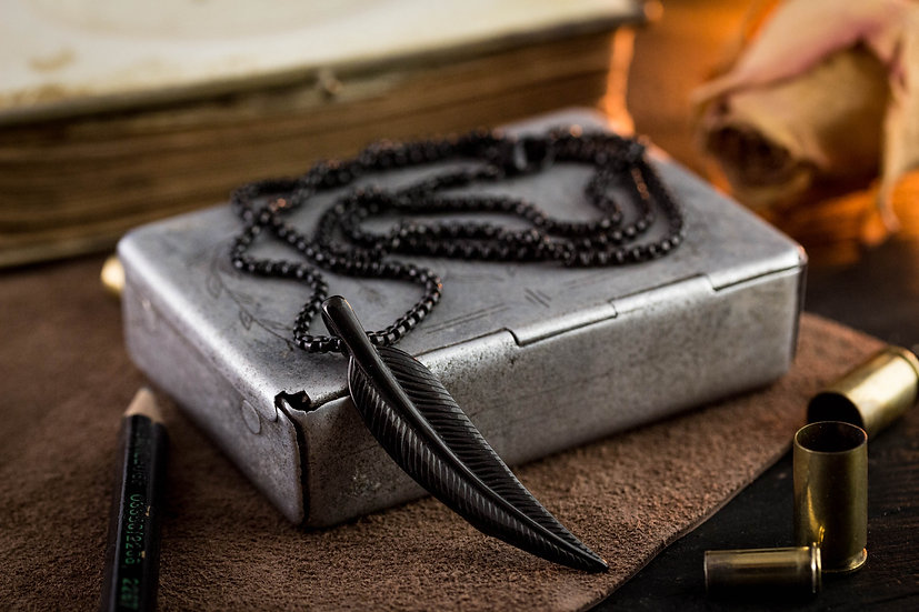Black stainless steel men's necklace with a feather pendant