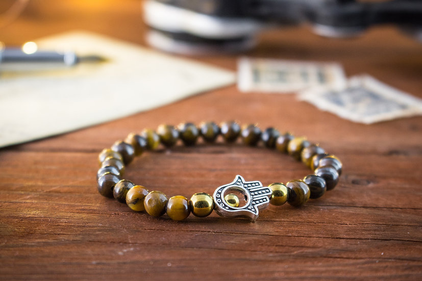 Tiger eye beaded stretchy bracelet with Hamsa hand