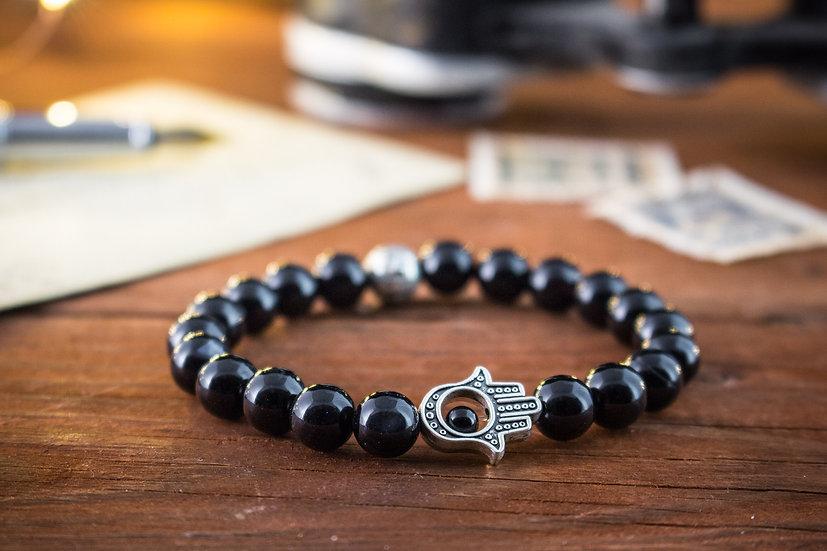 Onyx beaded stretchy bracelet with Hamsa hand