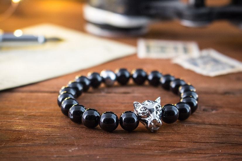 Onyx beaded stretchy bracelet with silver Leopard