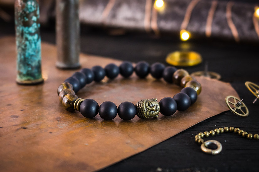 Matte black onyx, tiger eye beaded stretchy bracelet with bronze Buddha