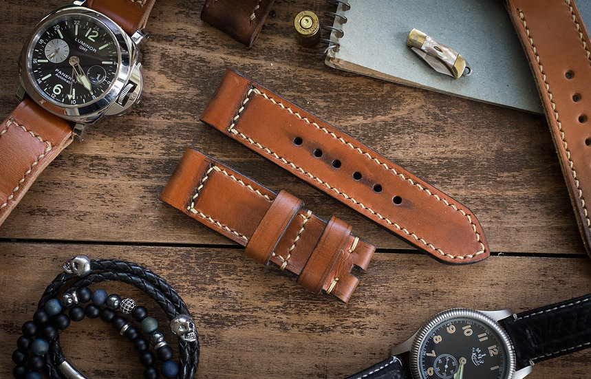 Antiqued handmade 24mm veg tan leather strap 126/85mm