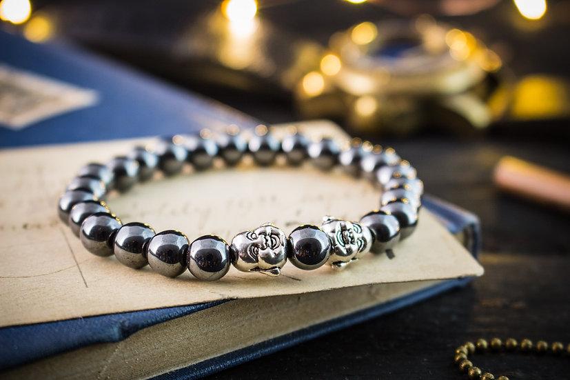 Hematite beaded stretchy bracelet with silver Buddhas