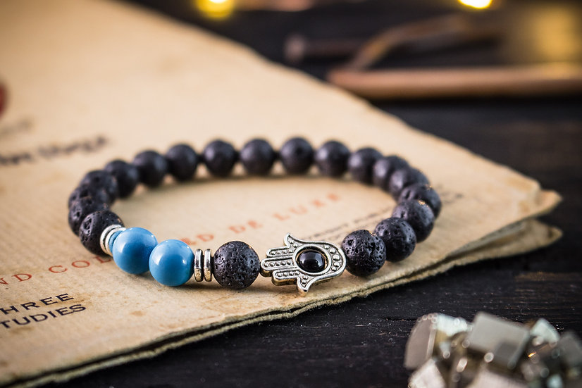 Lava stone & turquoise beaded stretchy bracelet with silver Hamsa hand