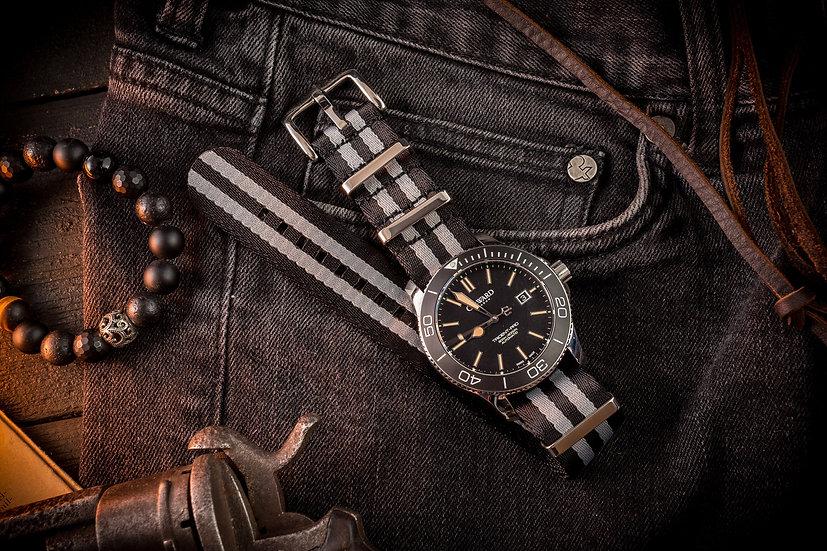 22mm Black & Gray, Bond premium Seat Belt Nato Watch Strap