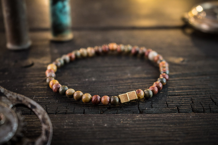 Picasso jasper beaded stretchy bracelet with gold cubes