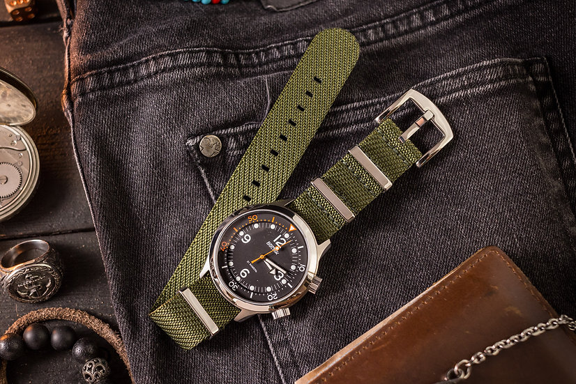 22mm Army Green Woven Fabric Nato Strap