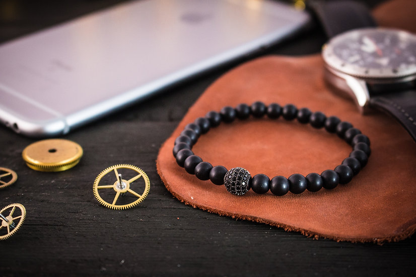 Matte black onyx beaded stretchy bracelet with black micro pave bead