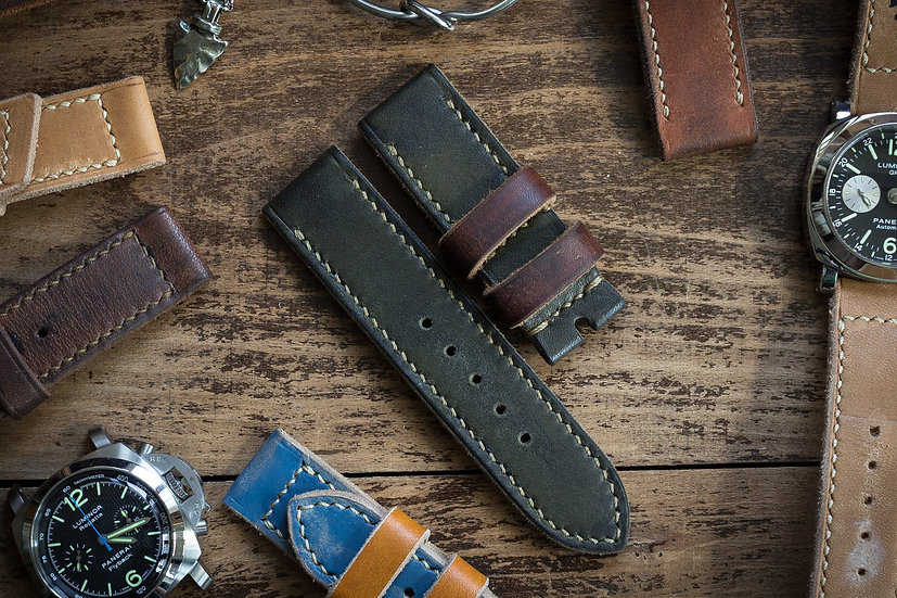 Handmade 26mm oiled and antiqued dark military green leather strap 130/82mm