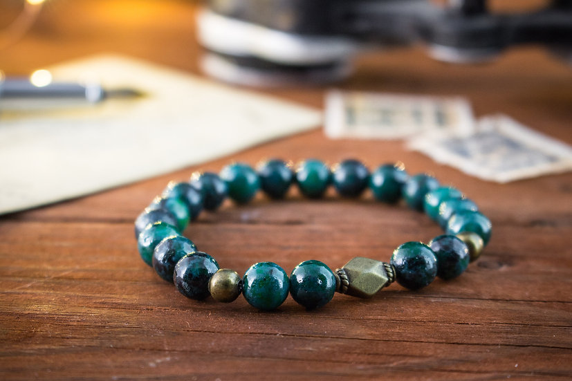 Greenish chrysocolla beaded stretchy bracelet with bronze beads