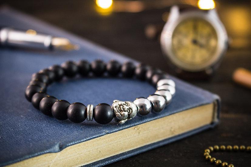 Matte black onyx beaded stretchy bracelet with silver smiling Buddha