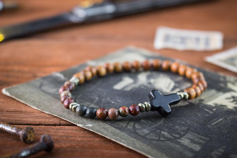 Red jasper, picasso jasper & sandalwood beaded bracelet with black cross
