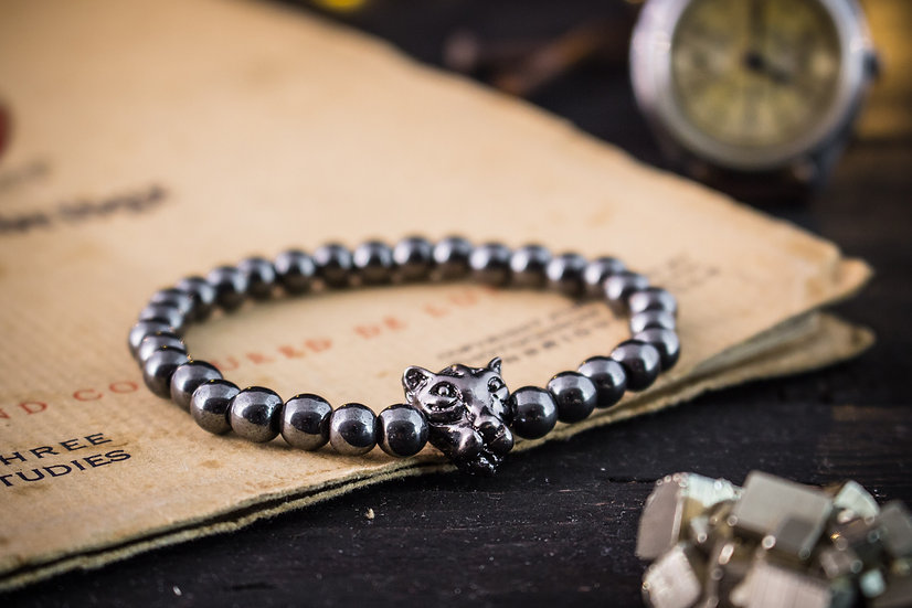 Hematite beaded stretchy bracelet with gunmetal leopard