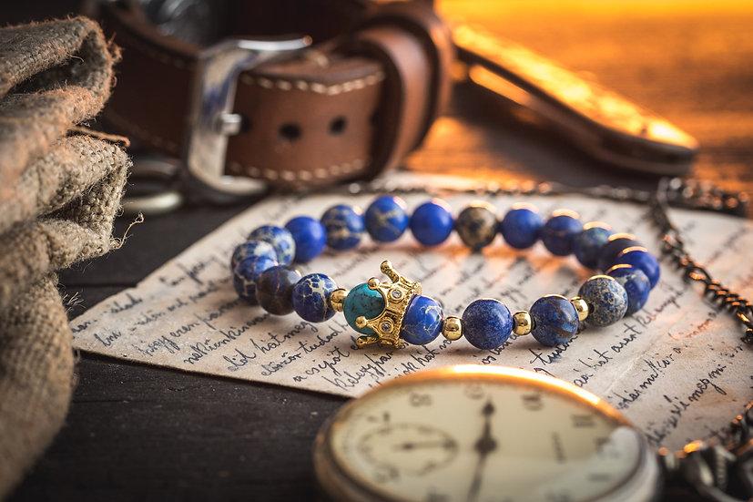 THE BLUE KING - Blue sea sediment & turquoise onyx beaded bracelet