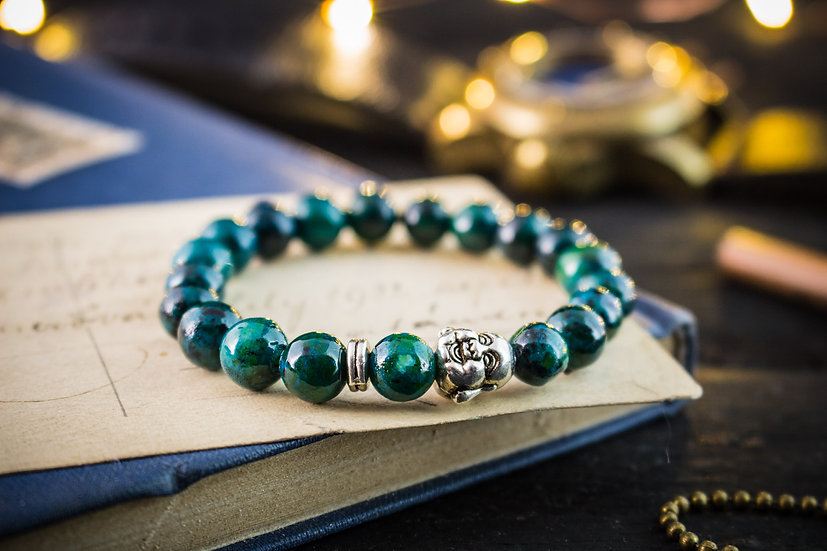 Greenish chrysocolla beaded mens bracelet with silver Buddha