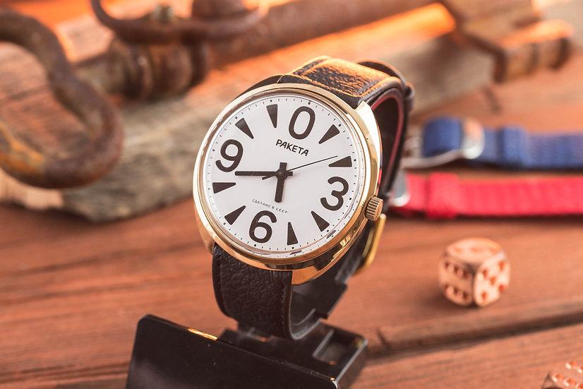 NOS - Vintage russian Raketa Big Zero mens watch in gold plated case