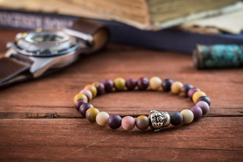 Frosted mookaite beaded stretchy bracelet with Buddha