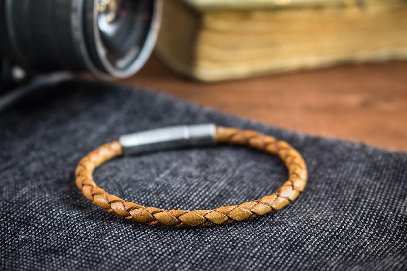 Antiqued tan genuine leather braided cord bracelet