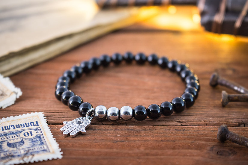 Black onyx beaded stretchy bracelet with silver Hamsa charm