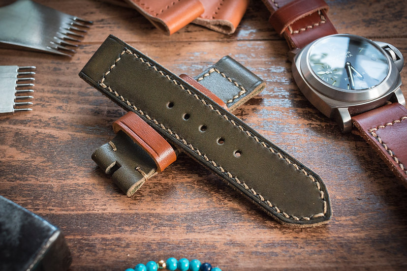 Antiqued handmade 24mm military green leather strap 127/85mm, for Panerai