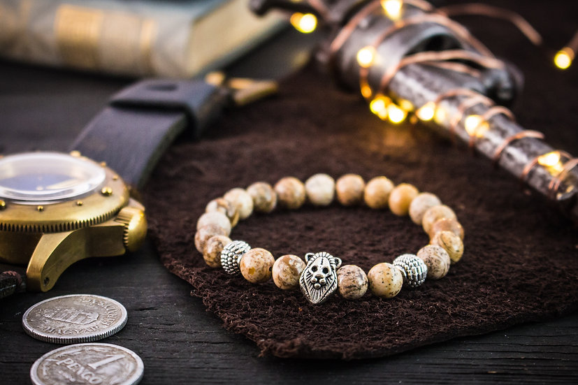 Jasper beaded stretchy bracelet with silver lion & accents
