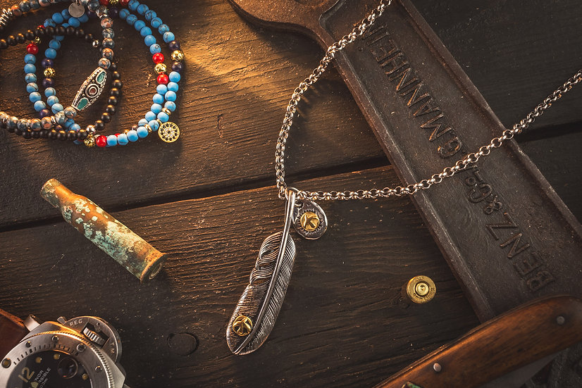 Stainless Steel Men's Necklace with antiqued Eagle Feather Pendant