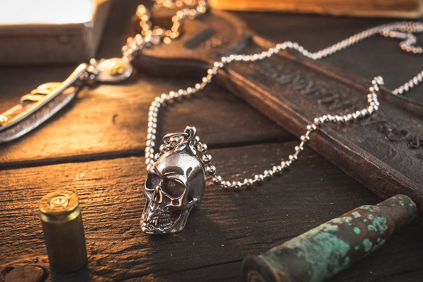 Stainless Steel Men's Necklace with Skull Pendant