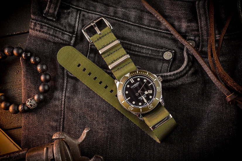 Olive Green premium Seat Belt Nato Watch Strap