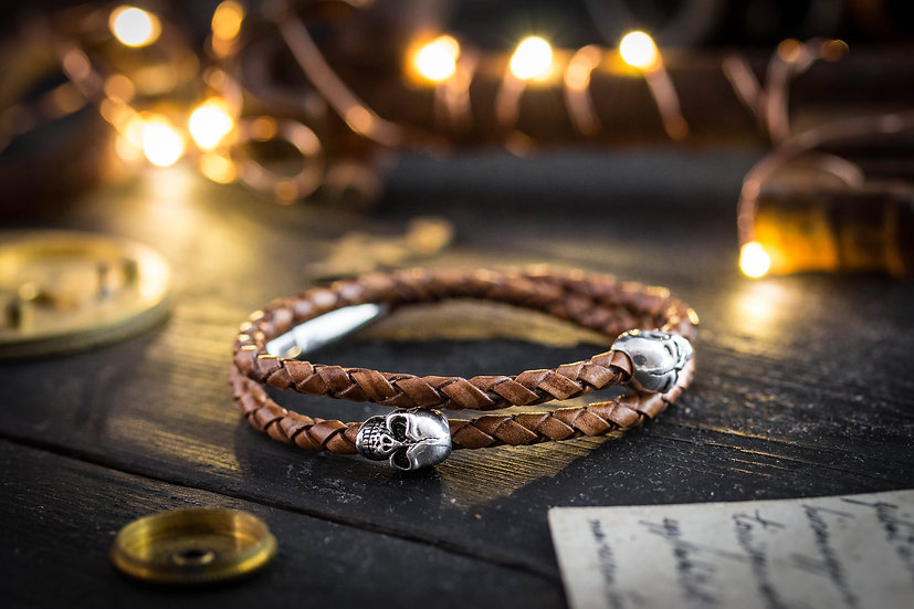 Double wrap brown genuine leather braided cord bracelet with steel skulls