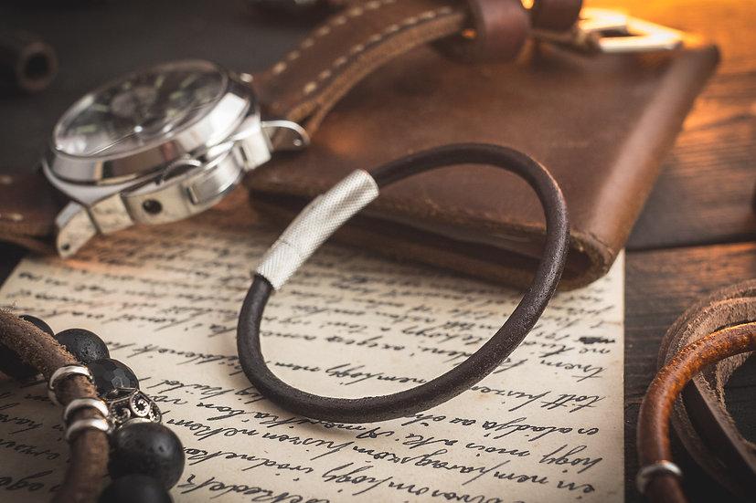 Very dark brown genuine leather braided cord bracelet