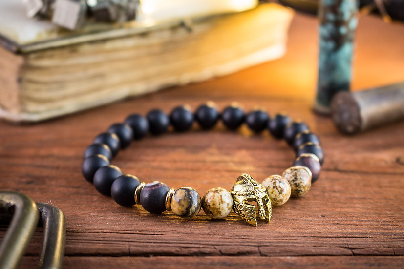 Matte black onyx & jasper beaded stretchy bracelet with gold spartan helmet