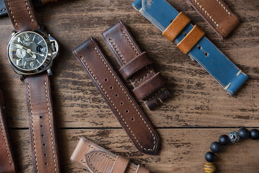 Handmade 24mm antiqued chocolate brown oiled leather strap 130/90mm