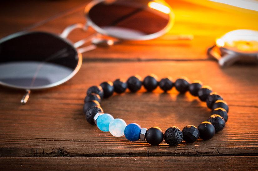 Black onyx, lava stone & transparent blue agate beaded stretchy bracelet