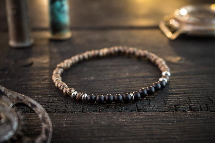 Matte black onyx & coconut beaded men's bracelet