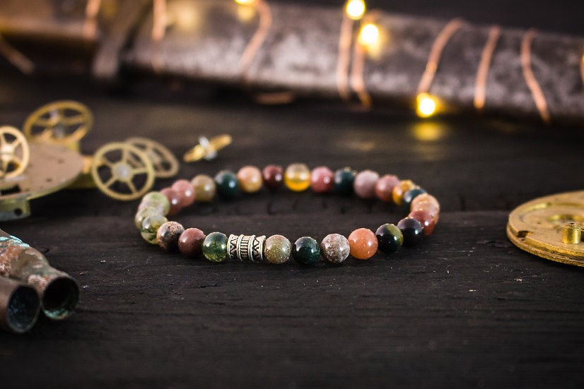 Green indian agate beaded stretchy bracelet